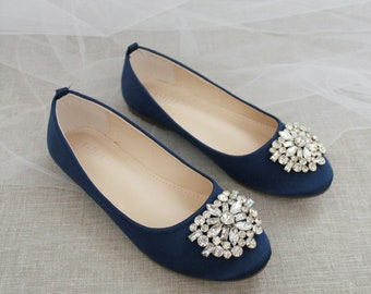 Navy Satin Round Toe Flats with OVERSIZED BROOCH - Classic Wedding Shoes, Bridal Shoes, Women Shoes, Something Blue