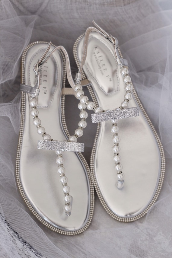 Women Wedding Sandals T Strap SILVER Pearl and Rhinestones, SILVER BEADS flat sandal Bride Sandals, Bridesmaid Sandals