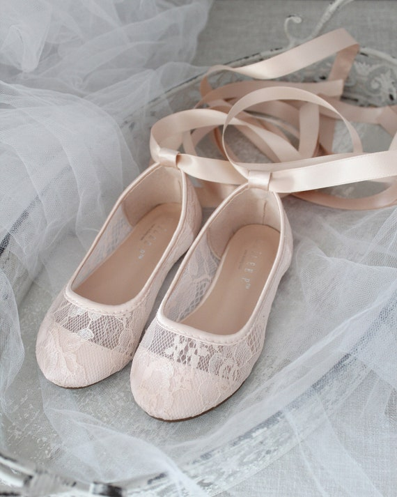 Blush Pink Lace Up Ballerina Flats, Flower Girls Shoes, Pink Toddler Girl Shoes,