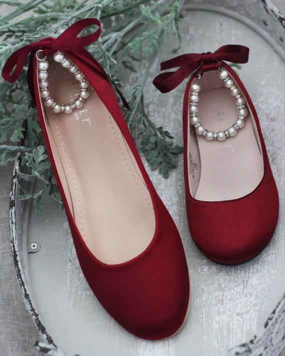 Women \u0026 Kids Shoes WINE SATIN Flats