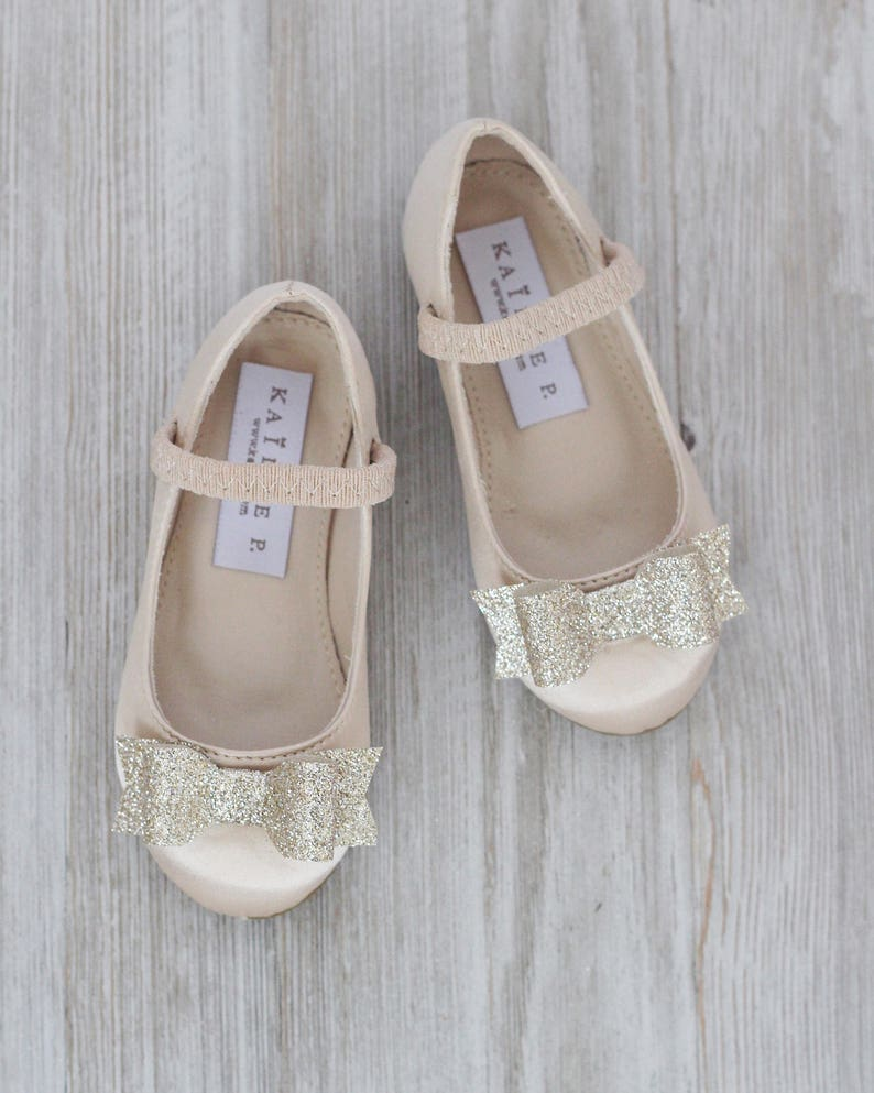 c5573981abb3d Infant girl shoes Toddler girl shoes CHAMPAGNE satin image ...