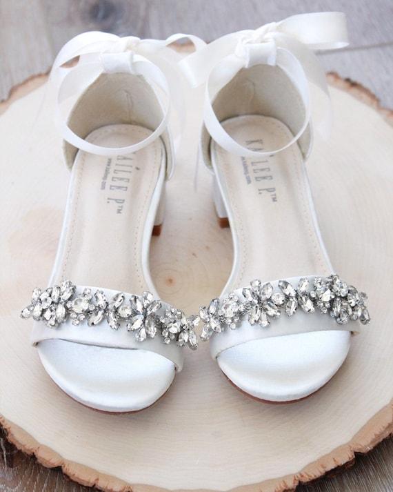 IVORY SATIN Block Heel Sandals with Embellished Strap, Girls Sandals, Flower Girls Shoes, Jr.Bridesmaid Shoes