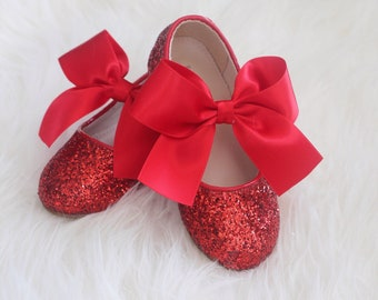 RED Rock Glitter Maryjane Flats with RED SATIN Bow - For Flower girl, Party shoes, Princess shoes and Holiday Shoes