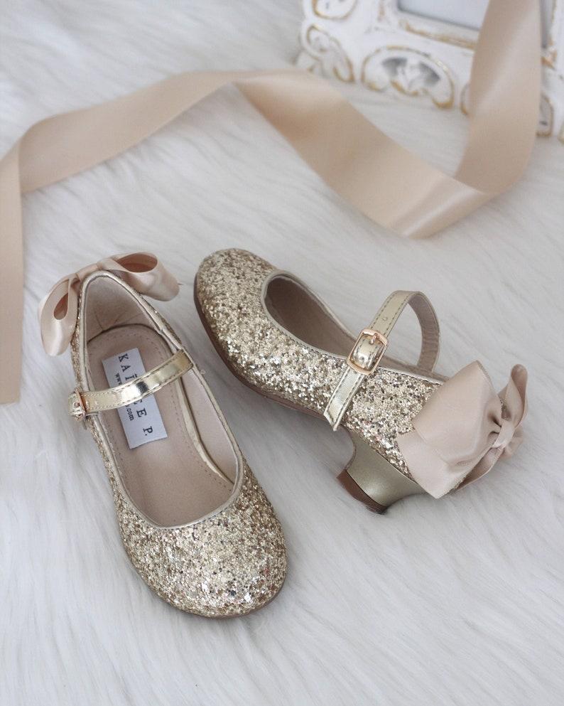 216ddb6f753 Girls Glitter Heel Shoes GOLD Rock Glitter mary-jane heels