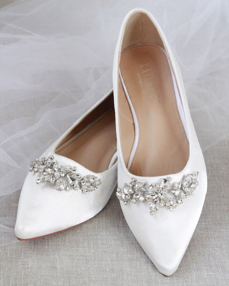 f9768bad76092 OFF WHITE Satin Pointy Toe flats with sparkly LEAVES rhinestones across the  toe, Women Wedding Shoes, Bridesmaid Shoes