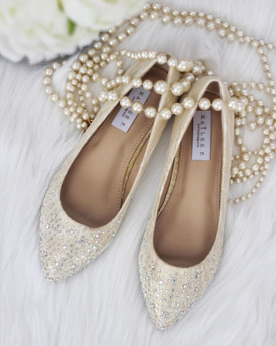 Women Wedding Shoes Bridesmaid Shoes CHAMPAGNE LACE Pointy