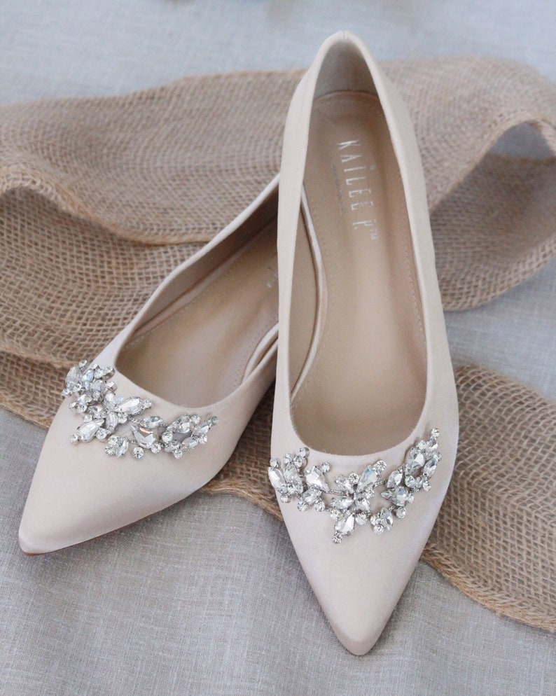 f9494ca978ec9 CHAMPAGNE SATIN Pointy Toe flats with sparkly LEAVES rhinestones across the  toe, Women Wedding Shoes, Bridesmaid Shoes