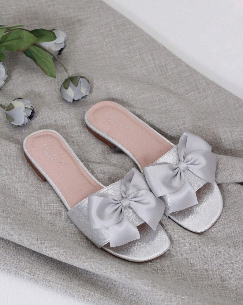 Bridesmaids Sandals SILVER SATIN Slide Flat Sandals with Satin Bow Bridal Sandals Wedding Sandals
