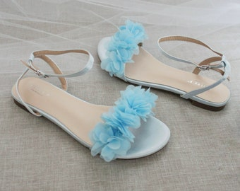 Light Blue Satin Flat Sandal with CHIFFON FLOWERS, Bridesmaid Shoes, Women Sandals, Kids Heels, Mommy and Me Shoes