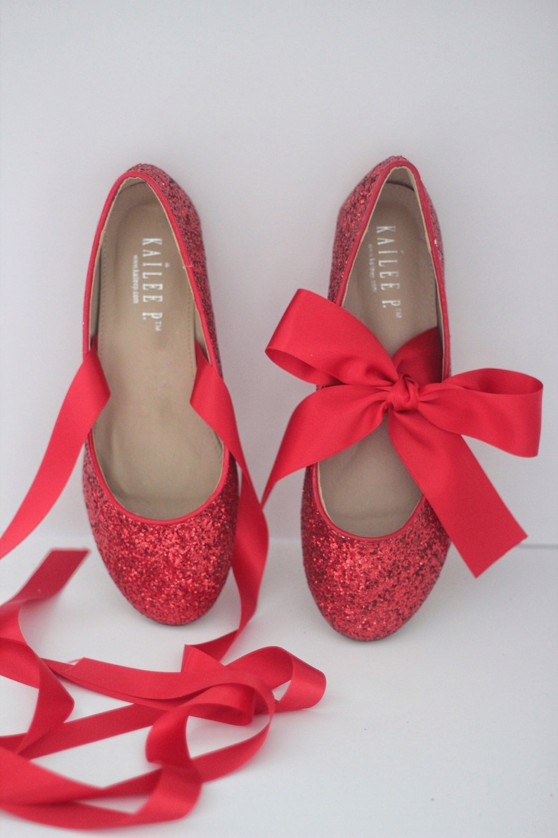 3db63cf03ad RED ROCK GLITTER flats with satin bow tie Women Wedding