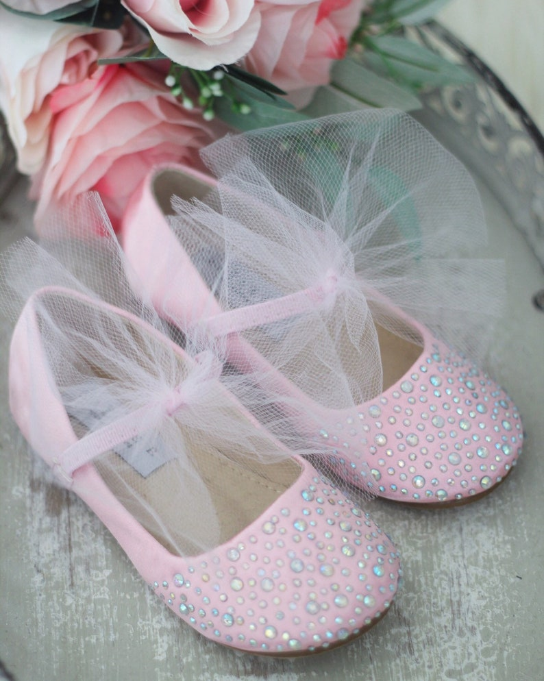 16e641eb2103b PINK SATIN Maryjane Flats with tulle bow and Rhinestones- For flower girls  shoes, baptism and christening shoes