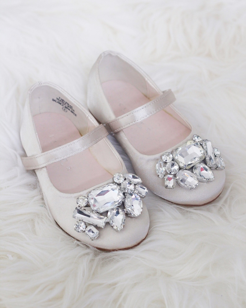 49fc5ca59e6b CHAMPAGNE SATIN maryjane flats with Oversized BROOCH for