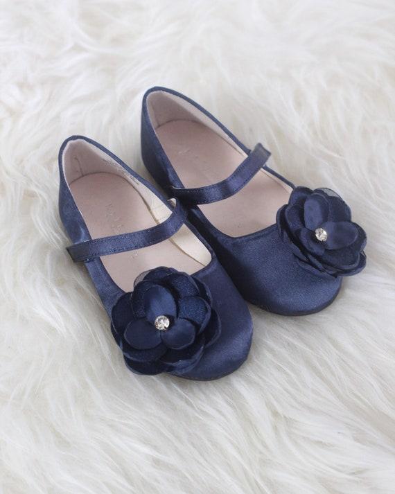 Girls NAVY BLUE Satin Shoes maryjane flats with Silk Flower