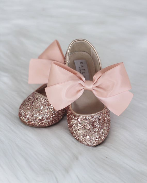 4b3dd65cbe47 ROSE GOLD ROCK glitter mary-jane with Rose Gold satin ribbon