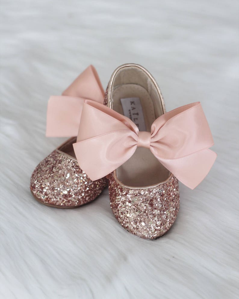 276c94193c8e ROSE GOLD ROCK glitter mary-jane with Rose Gold satin ribbon