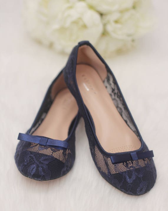 NAVY Lace flats with Front TUXEDO BOW
