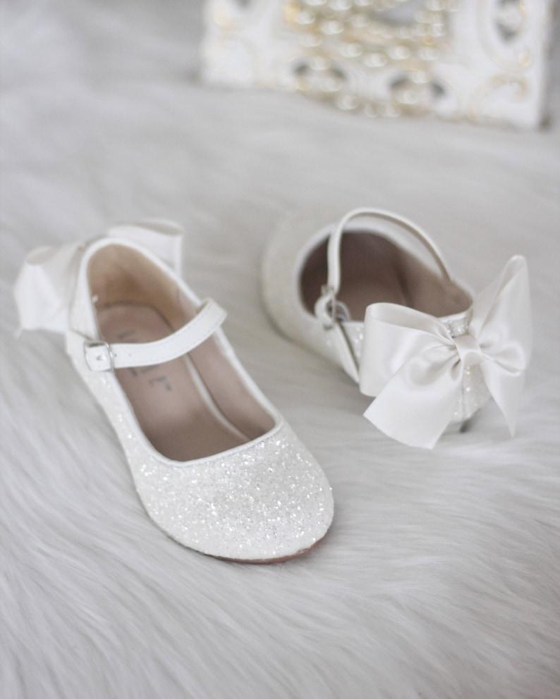 f8c66fdd896743 Girls Heel Glitter Shoes WHITE Rock Glitter mary-jane heels