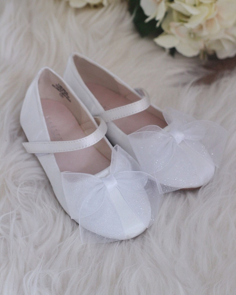 af6e68a9142 WHITE SATIN Mary Jane Flats with Glittery Chiffon bow Flower
