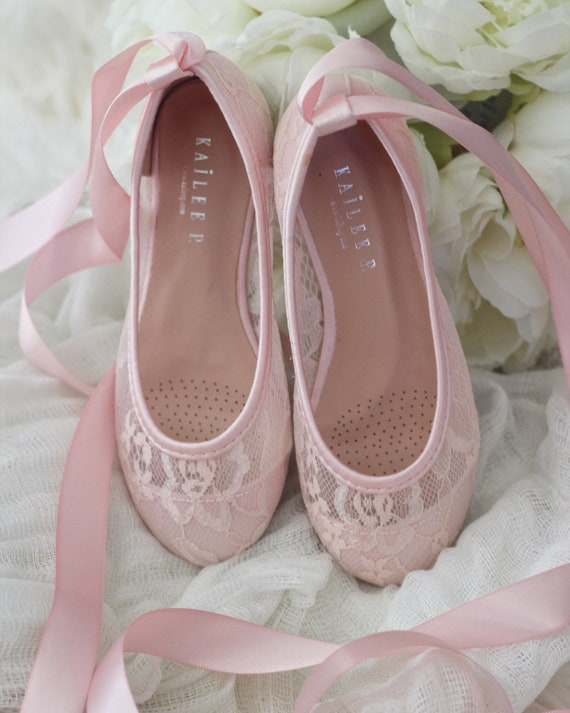 Girls shoes flower girl shoes pink lace up ballerina flats etsy image 0 mightylinksfo