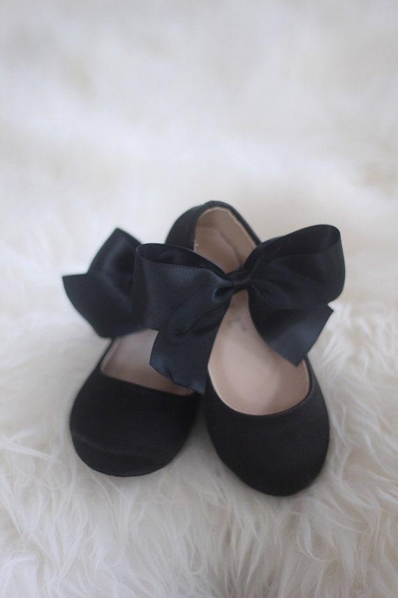 satin bow flower girl shoes
