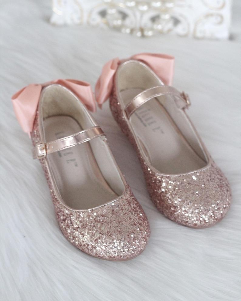 d8ee9792ffe Girls Heel Glitter Shoes ROSE GOLD Rock Glitter mary-jane