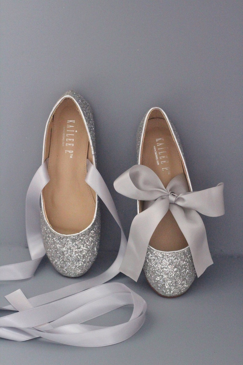 Silver Flats For Wedding.Silver Rock Glitter Flats With Satin Tie Women Silver Wedding Shoes Bridal Shoes Bridesmaids Shoes Party Shoes