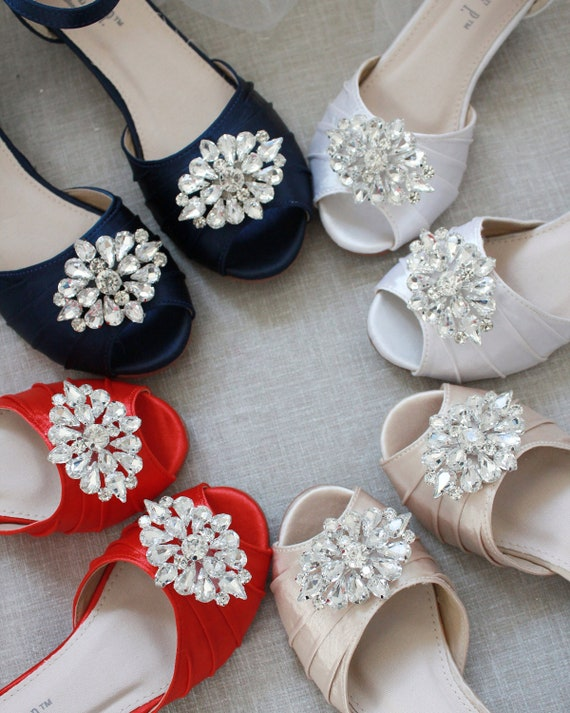 SATIN Low Heel Peep Toe Sandals with JEWELED BROOCH, Flower Girls Shoes, Jr. Bridesmaids Shoes, Girls Sandals
