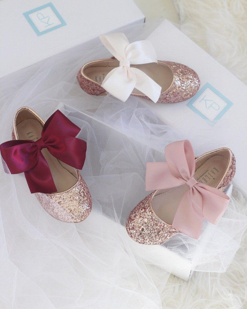 840d26af08c4 ROSE GOLD Rock glitter mary-jane with Mauve wedding ribbon