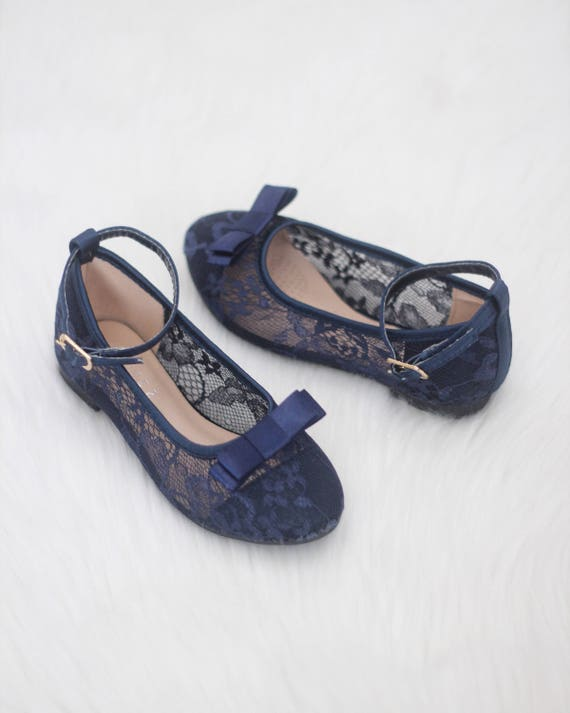 Les filles - fleur fille chaussures - dentelle marine appartements avec noeud en satin