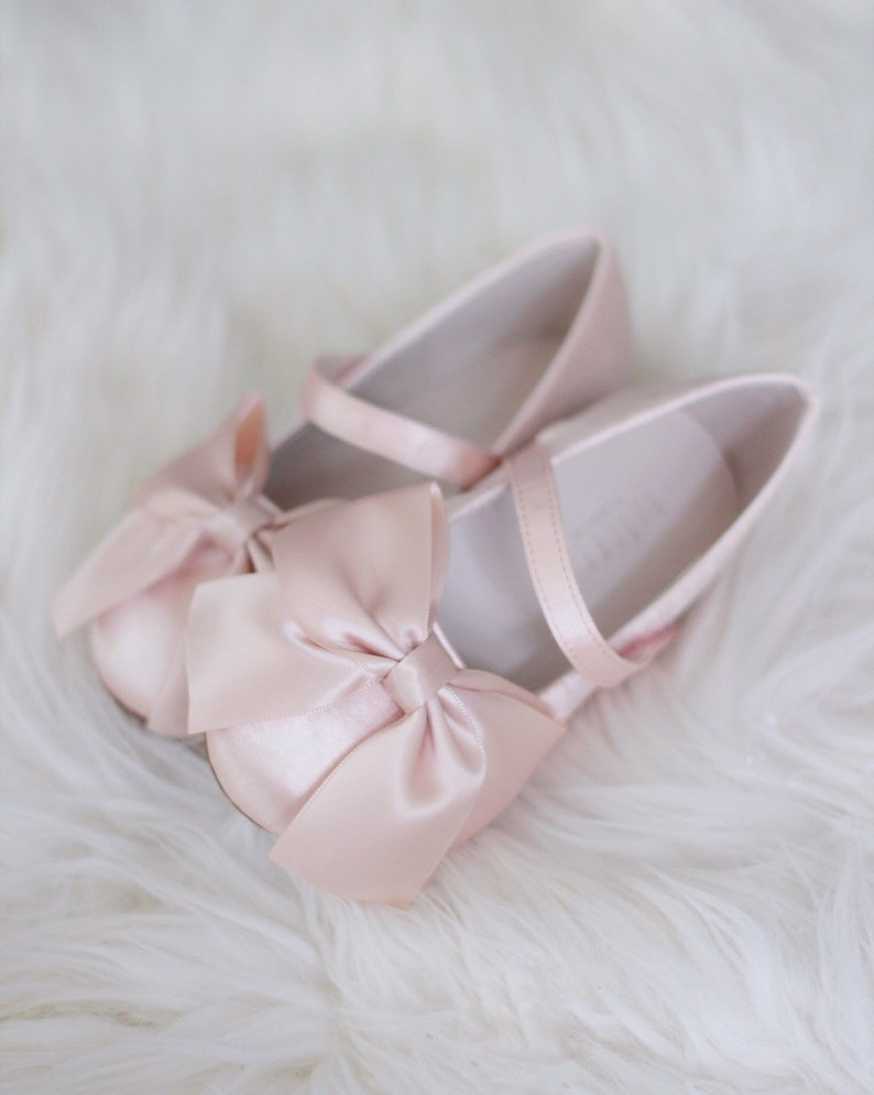 9532bd181a73 BLUSH Satin maryjane flats with satin ribbon bow for flower