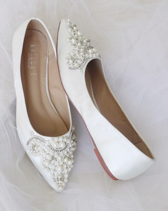 Off White Satin Pointy Toe Flats with