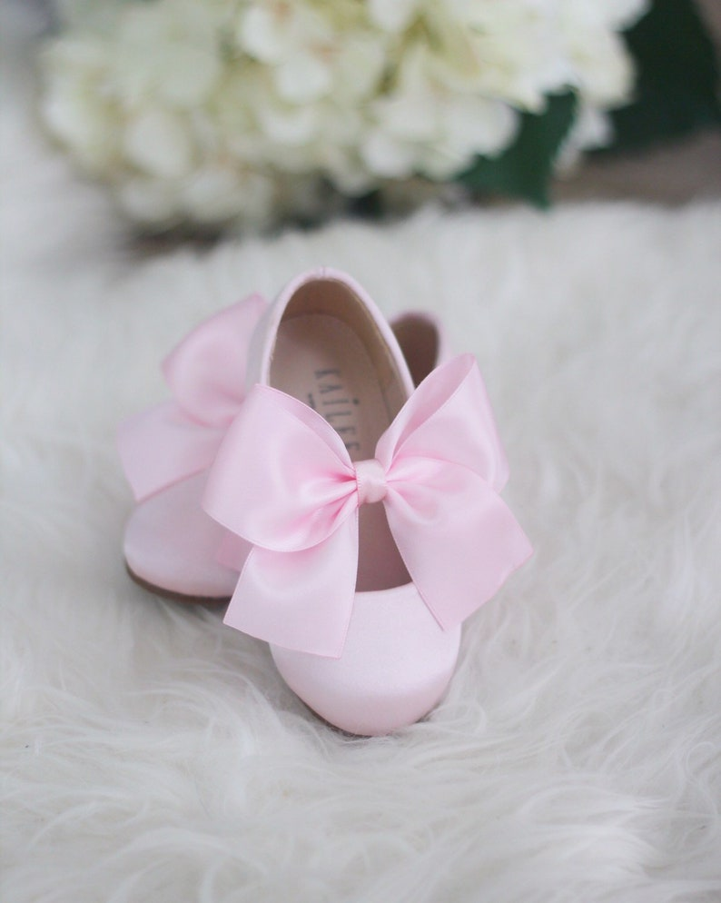 92ce894857156 PINK Satin Maryjane with PINK satin bow for flower girl shoes, Girls  Toddler Shoes, Blush Pink Shoes, First Birthday Shoes