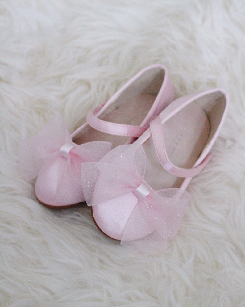 bbca063af14b PINK SATIN Mary Jane Flats with CHIFFON bow Flower girl