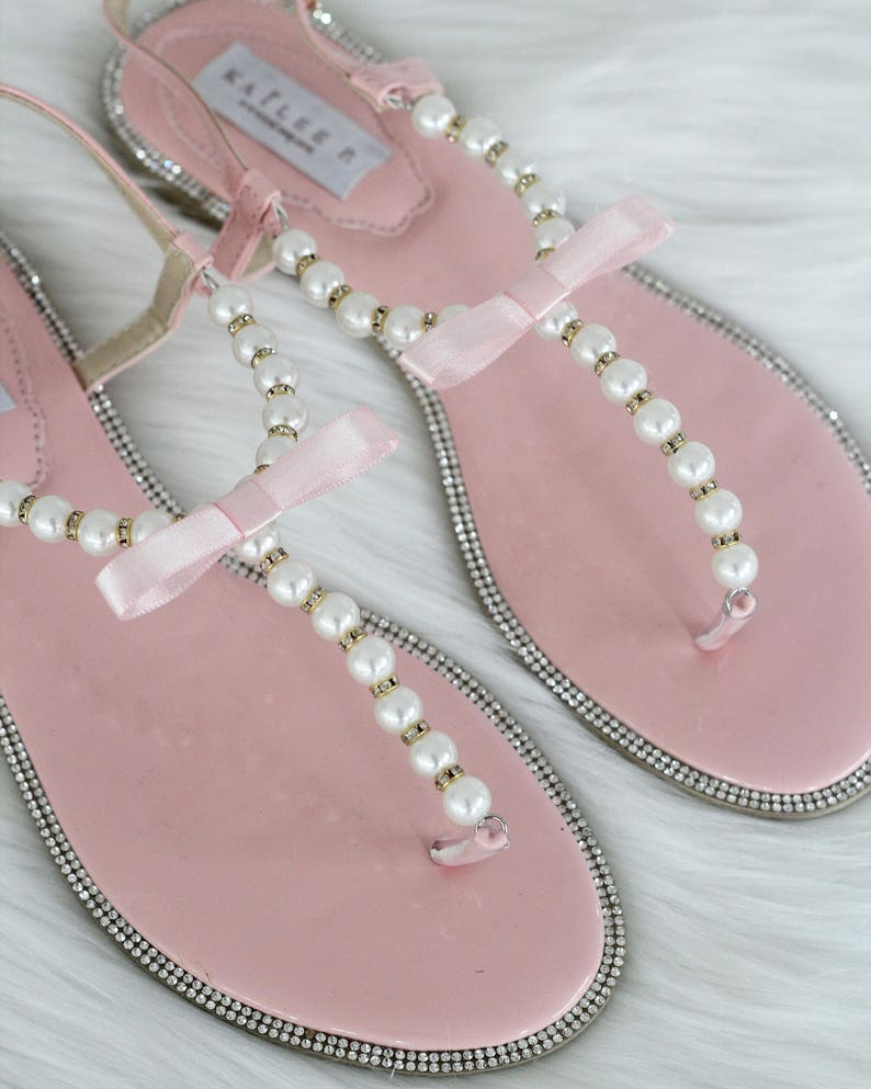 fbb65b27052bf Women and Kids Wedding Pearl Sandals T-Strap SOFT CORAL