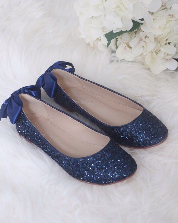 NAVY BLUE ROCK Glitter Flats with Back Satin Bow Bridal  7de312487