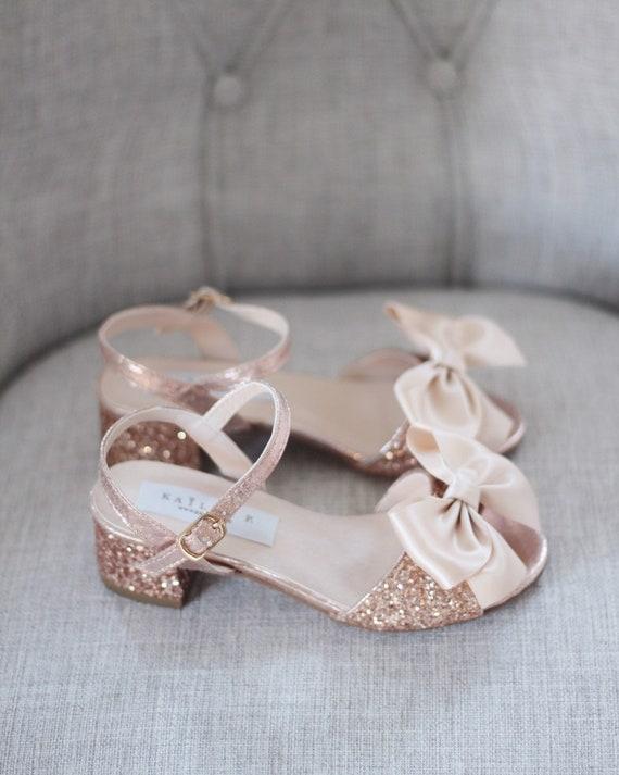 ROSE GOLD Rock Glitter Block Heel