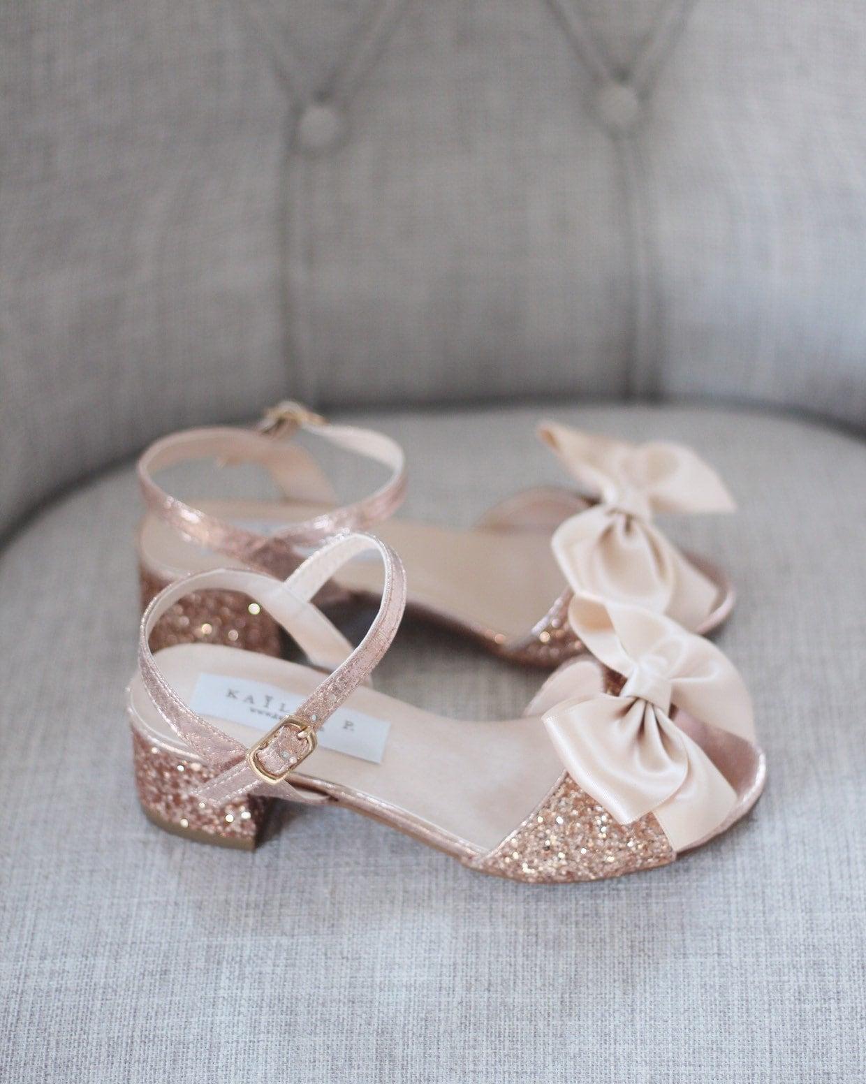 2f2ebc2482ce ROSE GOLD Rock Glitter Block Heel Sandals with Bow Girls | Etsy
