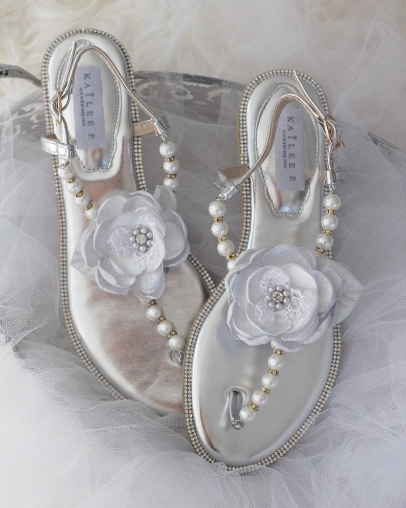 e0d50e08c7040a Women Wedding Pearl Sandal SILVER Metallic Pearl Rhinestones