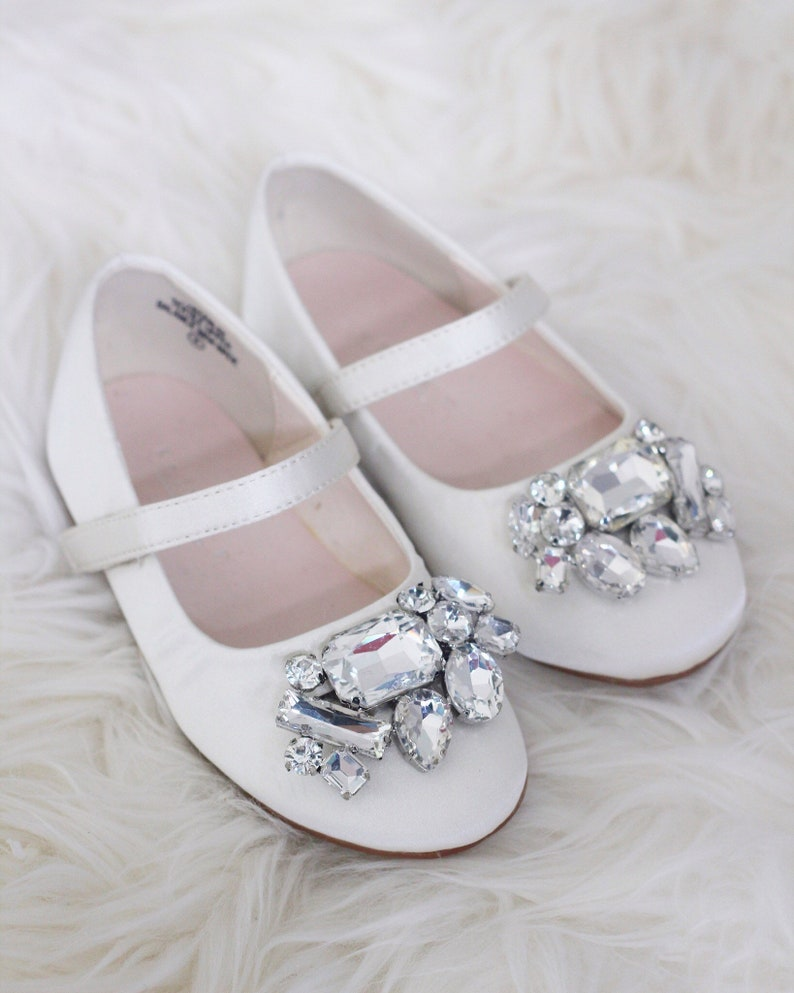 50d45ce6de85 IVORY SATIN maryjane flats with Oversized BROOCH for