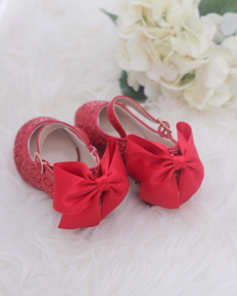 29940f166e90a RED ROCK GLITTER mary-jane heels with added satin bow - Flower Girl shoes  and Princess Shoes, Holiday Shoes, Red Shoes