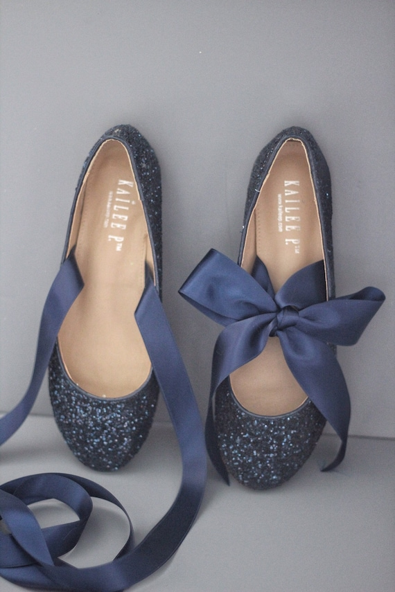 e727946b5480 NAVY BLUE ROCK Glitter flats with satin bow tie Women Gold | Etsy