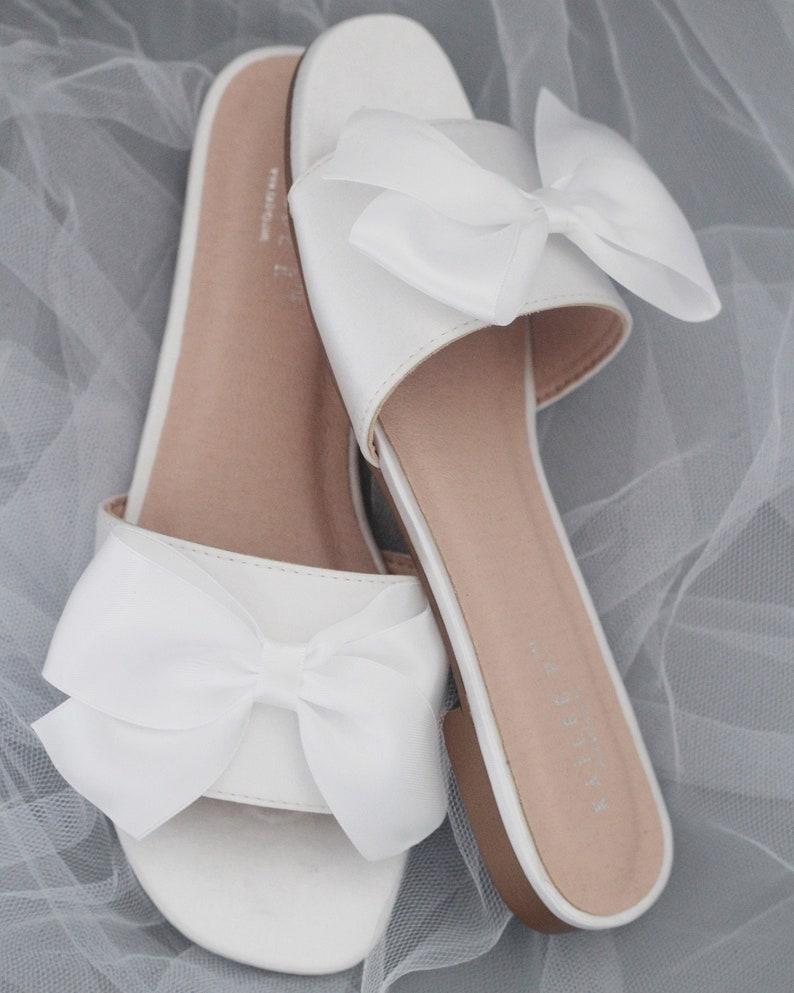 6e9facd09 WHITE SATIN Slide Flat Sandals with Satin Bow Bridal | Etsy