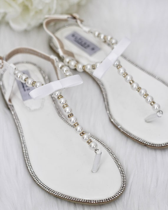 Women Pearl Wedding Sandals T Strap OFF WHITE Pearl with Rhinestones & GOLD Ornaments flat sandal brides and bridesmaids flat sandals