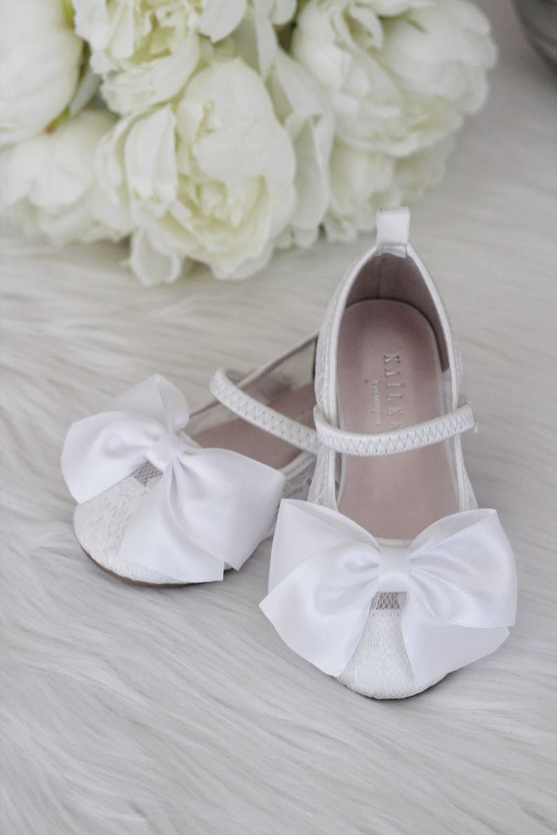 f5403a8a2c9 Girls Shoes Flower Girl Shoes WHITE LACE Maryjane with