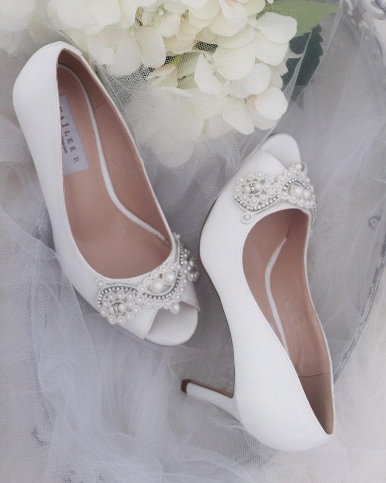 9c89f55b5e66 WHITE SATIN Peep Toe Heels with Pearls   Rhinestones Applique
