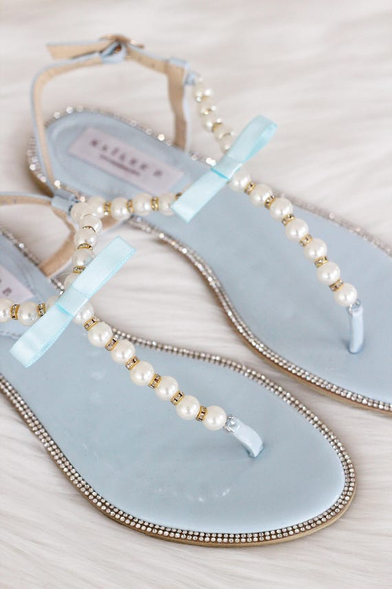 Women   Kids Wedding Pearl Sandals T-Strap LT BLUE PATENT