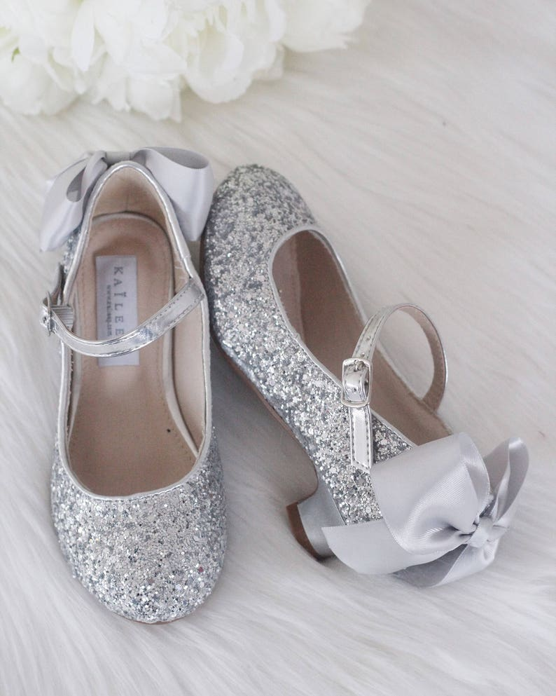 f13635e1e11 Girls Heels Shoes SILVER Rock Glitter mary-jane heels with