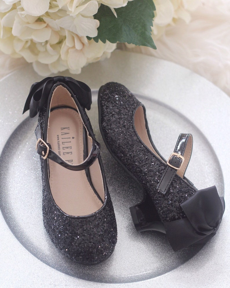 3f99921ff3c BLACK ROCK GLITTER Maryjane Heels with added satin bow - Flower Girl shoes,  Princess Shoes, Halloween Shoes