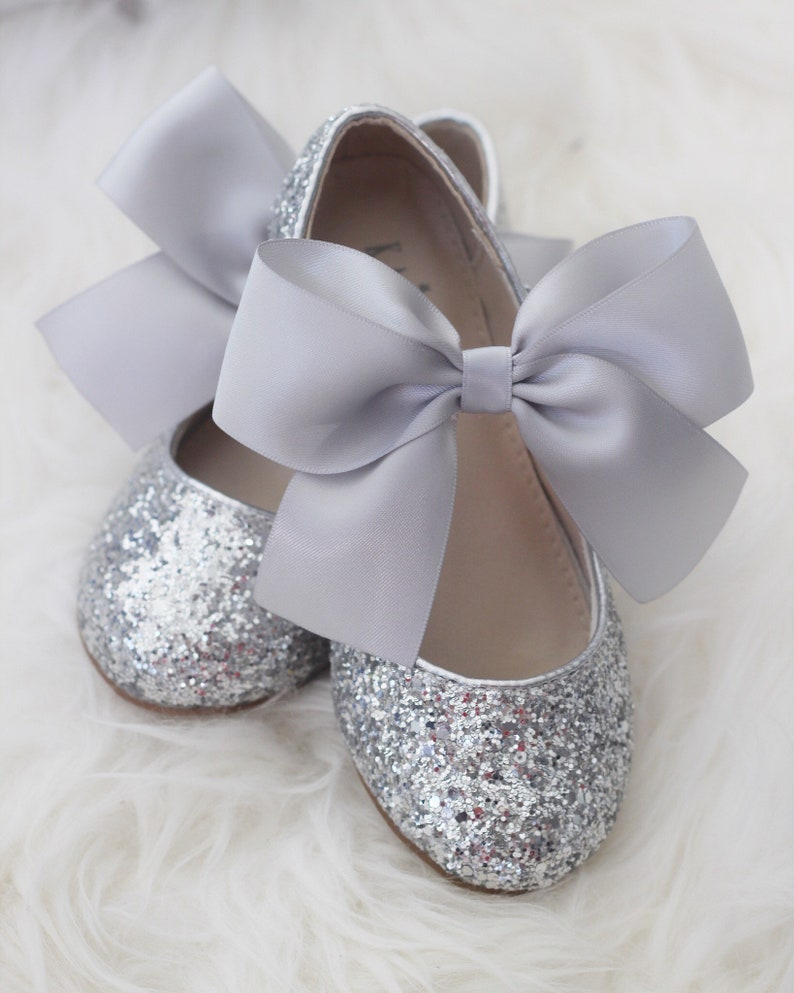 f9a87fd38b960 SILVER ROCK glitter mary-jane with SATIN ribbon bow - Flower Girl Shoes,  Toddler Shoes - Girls Glitter Shoes, Holiday Shoes