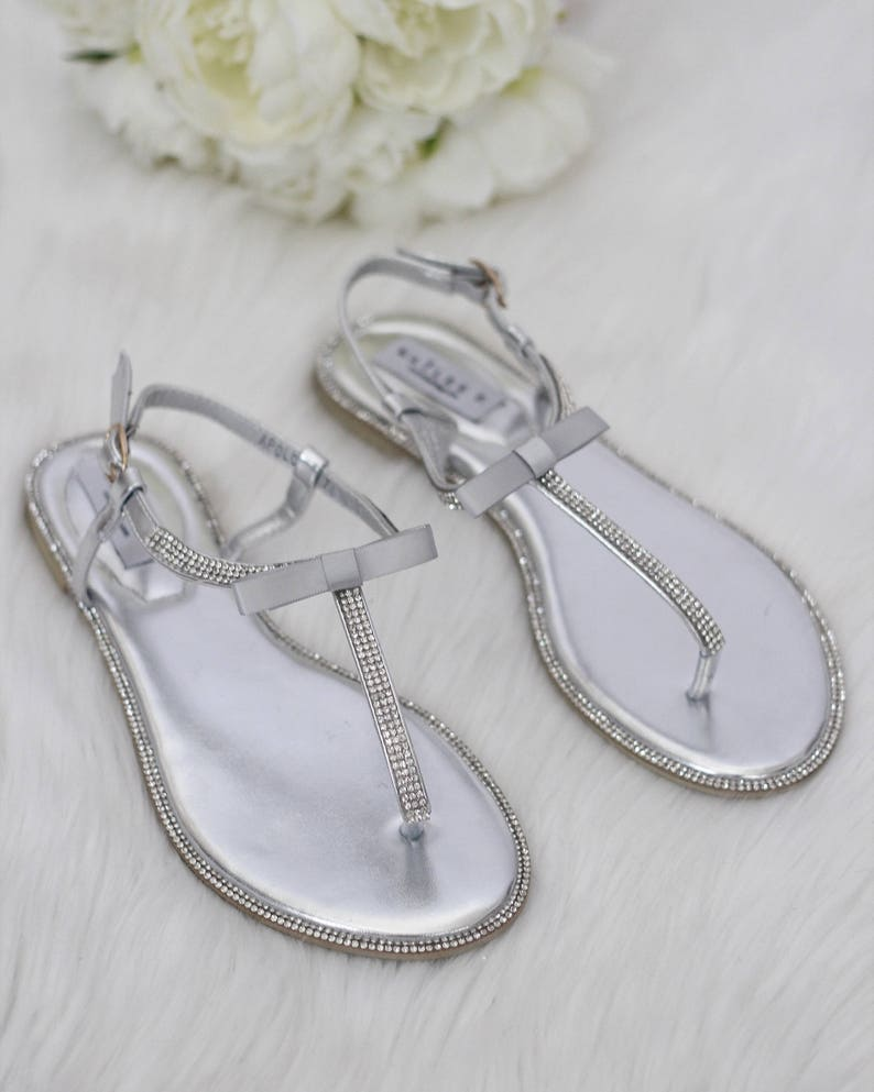 59c8b4045d0a Women Wedding Sandals SILVER Rhinestones T-Strap flat sandal